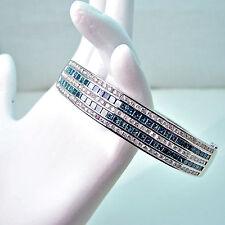 "14k White Gold 5.15ctw BLUE & WHITE DIAMOND BANGLE BRACELET 6.75"" 25 Grams Gold"