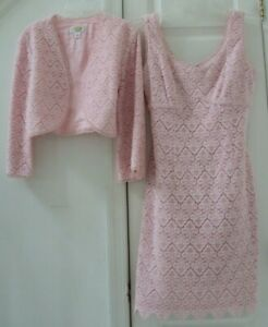 TALBOTS 10P 2-PC MEDIUM PINK EMBROIDERED CROPPED JACKET & SCALLOPED DRESS SUIT