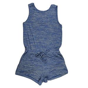 Gap Romper Women XS X Small Blue Sleeveless Scoop Neck Drawstring Stretch