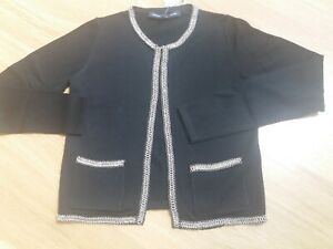 BNWT French Connection Black Chain Trim Jacket Cardigan Size XS RRP £90
