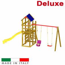 Altalena 2 posti Scivolo Parco Giochi Torre Luna Doppia con tetto + Arrampicata