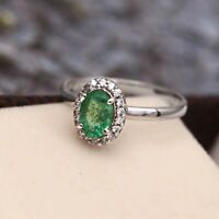 Natural Zambian Emerald Zircon Halo 925 Sterling Silver Ring for Women Gift Her