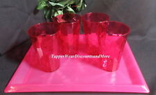 Tupperware New PINK Acrylic Elegant Ice Prisms 4 Tumblers Cups & Serving Tray