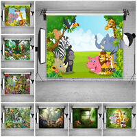 Forest Cartoon Animals Background Birthday Party Backdrops for Studio Props