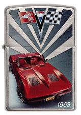 Zippo Chevrolet Corvette 1963 Stingray C2 brushed Chrome Custom Lighter Rare NEW
