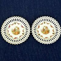 """2 plates victorian courting couple german reticulated pierced plates 5.5"""" vtg"""