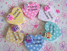 Handmade Owl Special Teacher Polka Dot Wooden Heart Fridge Magnet Thank You Gift