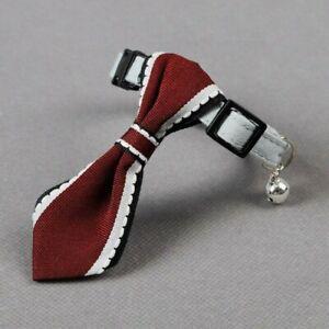 Dog Soft Oxford Adjustable Tie Collar Gentleman Puppy Strap Necklace Wine Red