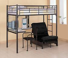 Black Metal Multifunction Twin Loft Bunk Bed With Desk And Futon chair / bed