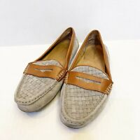 GH Bass & Co Becca Flats Grey Basket Weave Tan Leather Penny Driving Loafers