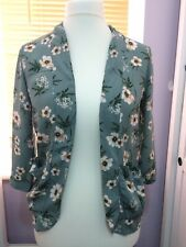 Ladies New Look Kimono -Cover Up Edge to Edge Jacket TOP Size 8-10 Green Floral
