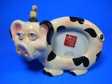 "Russ Pig Piggy with Bird on Head Picture Frame ceramic 2.5"" x 3"" Glass"