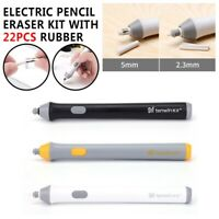 Electric Pencil Eraser Kit w/ 22pcs Rubber Refills Highlights Sketch Drawing