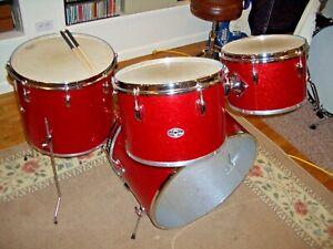 "Vintage Slingerland 4 piece ""Pop Outfit"" Red Sparkle Beautiful Condition-"