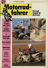 Motorradfahrer 1/89 1989 Ducati Mike Hailwood Kawasaki GPZ 305 VFR 750 F SR 500