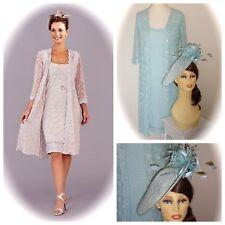 Ann Balon MOTHER OF BRIDE Lace Dress & Coat, Aqua, M + Ispirato Fascinator