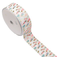 "2Yards/roll 3"" 75mm Gilding Feather Grosgrain Ribbon Tape DIY Hair Bow Materials"