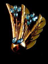 Plate Blue Topaz Flower Brooch Vintage Sterling Silver Gold Vermeil /