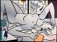 "Roy Lichtenstein blue NUDE Large CANVAS  28""  art painting vintage dots"