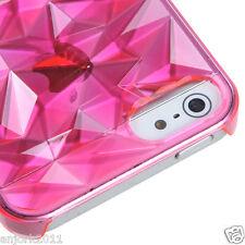Apple iPhone 5 Diamond Shape Back Case Cover Accessory Transparent Hot Pink