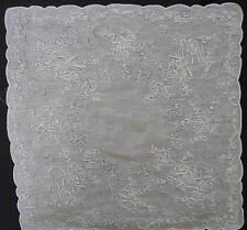 Exquisite Hand Embroidered Linen Handkerchief  Church, Wedding, Christening, etc