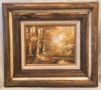 Woodland Landscape Oil Painting on Canvas signed Schiller, w/ Rustic Wood Frame
