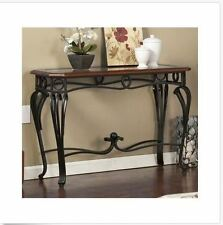Metal Wood Console Table Sofa Entry Living Room Furniture Glass Top Cherry NEW