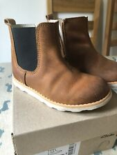 Clarks crown halo tan leather boots 8f infant