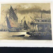John Kelly Wangpu River Signed Fine Art Lithograph/Serigraph from China Suite