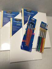 Lot 5 Art Lot 3 Canvasses Sargent Art Value 9 x 12 Inch 2 New Sealed Brush Sets