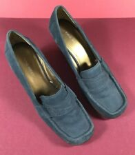 Nine West Dark Teal Shoes Suede Oxford Heels Wedges Size 10.5M