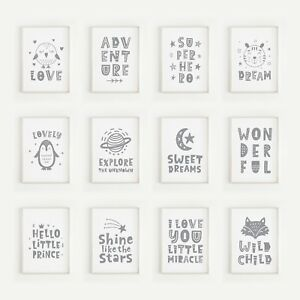 Grey Nursery Prints for Baby Boys or Girls Bedroom Decor Wall Art Pictures