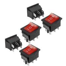 5 Pcs DPDT Neon Light On/Off/On Rocker Switch AC 250V/15A 125V/20A L6