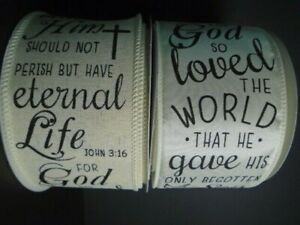 """John 3:16 Wire Ribbon 2.5"""" Biblical*Religious*Scripture*Christian(2 LNGTHS/TYPE)"""