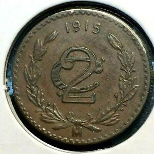 1915 🔥 Mexico 🌞 2 Centavos Bronze Coin ✨ UNC KM 420 🦅 Revolution 1-Year Type