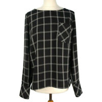 Oliver Bonas Size 12 Black & White Check Cut Out Back Long Sleeve Top Blouse