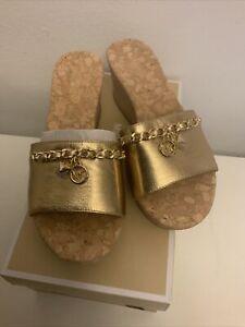 Michael Kors Elsa Platform Sandal Leather & Cork Deer Size 6 New