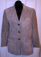 Lauren Ralph Lauren Beige Suede Button Front Long Sleeve Collared Jacket Size 4