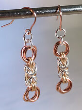 Tri-colored byzantine and flowers Chainmaille earrings. 1 3/4 Inches.