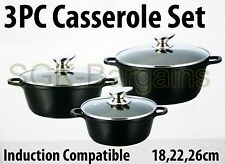 Placa base de inducción de 3PC Diecast Cazuela Cocina Pan Olla Tapa de Cristal 18-26CM Negro
