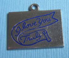 Vintage enamel I Love You Truly sterling charm