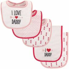Luvable Friends Girl Bib and Burp Cloths, 5-Piece Set, Girls Love Daddy
