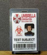 Resident Evil ID Badge-Umbrella Corporation Test Subject Alice costume cosplay