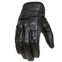 Biker Motorrad Leder Handschuhe Herren Motorrad Sommer Handschuhe Schwarz Gr XL