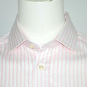 Mint CHARLES TYRWHITT Slim Fit Cotton Pink White Striped Dress Shirt 16 - 35