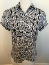 BEN SHERMAN Black White Small Floral Print Short Sleeve Collared Shirt Blouse L