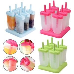 Popsicle Molds 6 Ice Molds Reusable Ice Cream Makers Set DIY Popsicle&Sticks