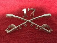 US ARMY 17TH CAVALRY CROSSED SABERS LARGE HAT PIN SUITABLE FOR A STETSON HAT