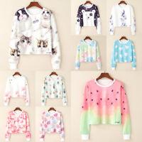 Womens Carton Print Hoodies Sweatshirt Long Sleeve Hooded Sweater Tops Jumper