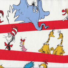 Dr Seuss Cat in Hat Horton the Elephant Kids Red Stripe Quilt Fabric FQ or Metre